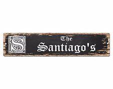 SPFN0302 The SANTIAGO'S Family Name Street Chic Sign Home Decor Gift Ideas