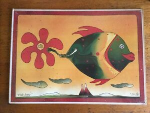 Retro Colourful 'fish Daisy' Print 2/100 Walter Kunz Boho Abstract Original