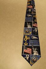 The United States Navy On A Brand New Navy Blue 100% Polyester Neck Tie!