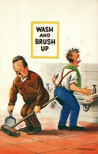 RUDE RISQUE COMIC BAMFORTH WASH and BRUSH UP CLEANER in TOILET POSTCARD - USED