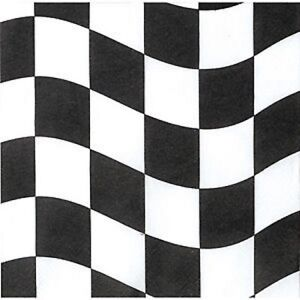 Black & White Chequer Check Flag Grand Prix Car Racing Party Napkins - 18 pack