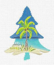 *NEW* Coastal Palmetto Palm Tree HP Needlepoint Ornament Canvas by Kelly Clark