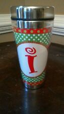 """Mud Pie Holiday Initial """"i"""" Tumbler Coffee Tea Travel Cup, NEW"""