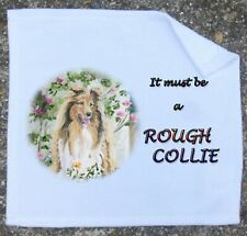ROUGH COLLIE DOG NEW WHITE FACE CLOTH MICROFIBRE TOWEL SANDRA COEN ARTIST PRINT