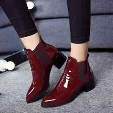 Womens Patent Leather Pointed Toe Ankle Boots Chunky Heels Elastic Riding Shoes