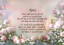 Nana Nanna Grandmother Personalised Verse - Roses