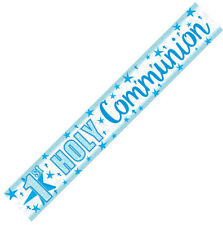Amscan International 9902295 2.7 M 1st Holy Communion Holographic Blue Banner