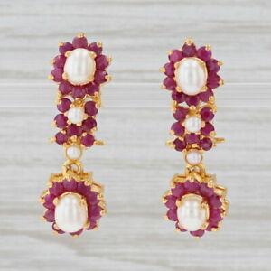 Pearl Ruby Halo Dangle Earrings 22k Yellow Gold Pierced Floral Drops Omega Backs