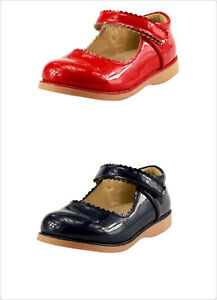 Girl's School Dress Classic Shoes Glossy Red or Navy Mary Jane Toddler size