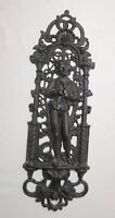 antique ornate figural heavy cast iron relief man smoking pipe wall plaque art '