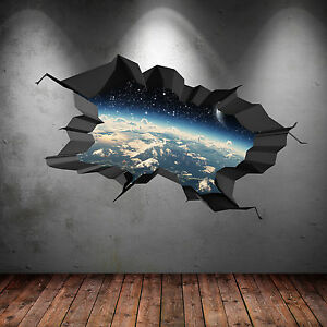 3D FULL COLOUR SPACE EARTH ASTRONOMY GALAXY CRACKED WALL ART STICKER DECAL PRINT