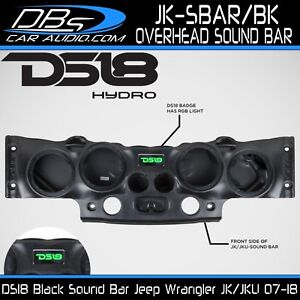 DS18 JK-SBAR Black Overhead Sound Bar with RGB Lights Jeep Wrangler 07-17 JK JKU