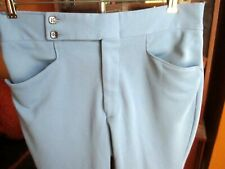 32x30 True Vtg 70s BABY BLUE POLYESTER STRETC KNIT MOD PANTS DISCO SLACKS flare