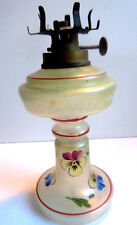 Mini Lampe veilleuse à huile ou pétrole, verre pied balustre émaillé de pensées