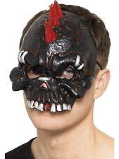 Dark Dead Punk Mask Black with devil horns - Mens Fancy Dress