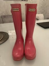 girls pink hunter welly boots size 3