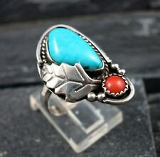 Navajo Indian Sterling Silver 925 Turquoise Coral Leaf Design Ring Size 7.5