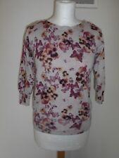 NEXT ladies jumper sweater - beige purple/orange floral knit cotton blend - 8