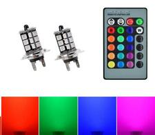 H7 LED Colour Change Foglight Bulbs RGB Flash Strobe Fade by Remote NON CANBUS
