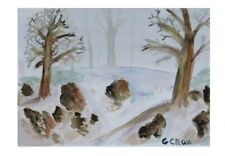 Fog And Snow Watercolor Landscape Painting by Gregory Cross on 9x12 140lb  Paper