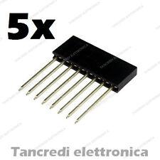 N 5 Connettore strip line Header 8 pin poli femmina 1 fila 11mm passo 2,54 ALTI