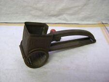 """Vintage MOULI Grater Shredder, Patent 2271176, Red Wood Handle, 7.5"""" Long!"""