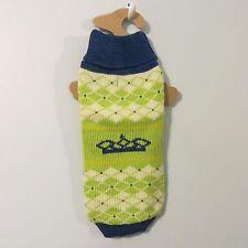 MEDIUM dog SWEATER NWT green navy blue MD World Market NEW knit crochet crown M