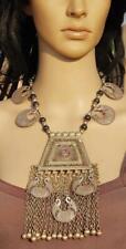 Vintage Kuchi Banjara Afghan Tribal Handmade Gypsy Glass Beads Pendant Necklace