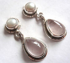 Rose Quartz Cultured Pearl 925 Sterling Silver Stud Earrings w/ Grooved Accents