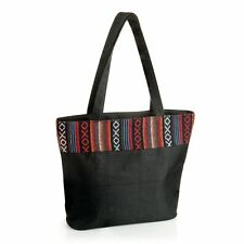 Ladies Canvas all purpose bag in black with pattern day bag beach bag