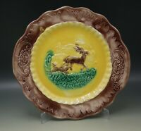 "MAJOLICA STAG AND DOG CAKE PLATE HANDLED DOG CHASING DEER 11"" ANTIQUE"