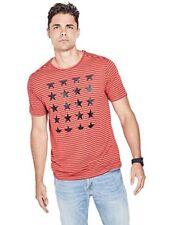 GUESS Lane Striped Stars Print Tee Bossa Nova Red / Orange Multi T-SHIRT ( XXL )