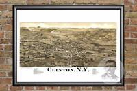 Vintage Clinton, NY Map 1885 - Historic New York Art - Old Victorian Industrial