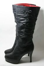 GUESS BY MARCIANO SHOES PLATFORM STILETTO PULL ON BOOTS 'JEAN' BLACK LEATHER 8