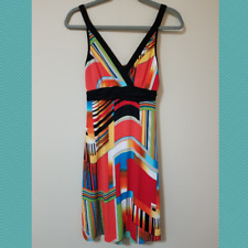 Stella Max Women's Colorful Geometric Print Empire Waist Dress | Size S