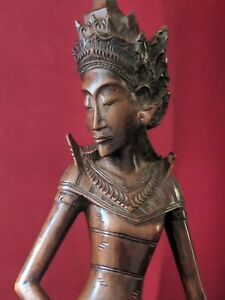 Antique MAS BALI  Hand Carved Wooden  FIGURE MARK W J GONGSOR Quality item 34CM