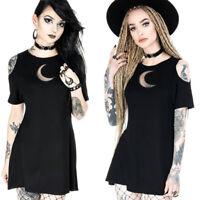 Hollow Out Punk Mini Dress Women Cold Shoulder Goth Short Sleeve Summer Skirts