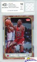 2007 Fleer #8 Michael Jordan+Game Used Jersey BECKETT 10 MINT 1986 Fleer Design