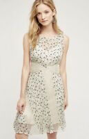 "Anthropologie Floreat Sz 4 Cream Black ""Windswept"" Lattice Lace Floral Dress"