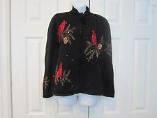 VTG Heirloom Collection Cardinal Birds Cardigan Embellished Sequin Beads S