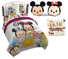 Disney Tsum Tsum Minnie Mickey TWIN Comforter Sheets Throw Pillow Complete Set