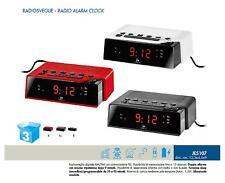 LOWELL JE5107 RADIOSVEGLIA 220V Linea VINTAGE DISPLAY LED ROSSI RADIO AM/FM PLL