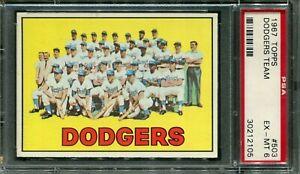 1967 Topps #503 Dodgers Team Card PSA 6 EX-MT