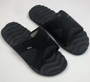 REEF mens SIZE 9 black foam SLIDES sandals K-14 CLK w/ bottle opener on sole EUC