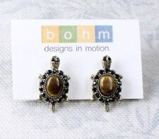 BOHM Quality Earrings TORTOISE Turtle Brown TIGER-EYE Jet Black Swarovski BNWT