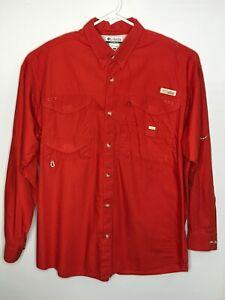 Mens Columbia Shirt XL Fishing PFG Long Sleeve Burt Orange Red Pockets Back Vent