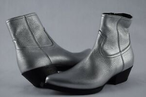 NIB $1095 Womens YSL Saint Laurent Lukas Zip Aged Leather Silver Boots 37.5