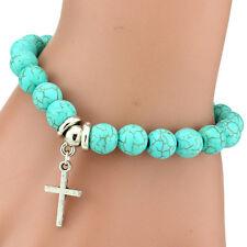 Armband Türkis silber Kreuz Glaube NEU Boho Hippie Shamballa Damen Geschenk OVP