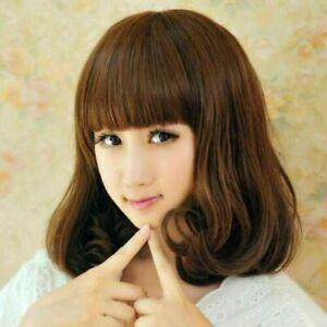 100% Human Hair New Fashion Glamour Women's Medium Natural Brown Curly Full Wigs