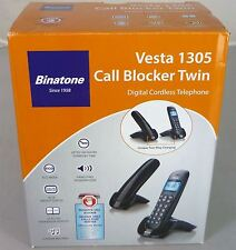 Binatone Vesta 1305 Twin Duo Black Cordless Home Phone Telephone + Call Blocker